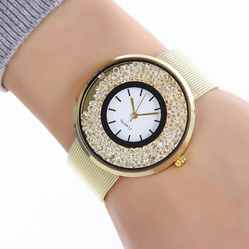 Women Dress Watches Creative Stylish Trendy Stainless Steel Unisex Rhinestone Luxury Casual Men Quartz Watch Relojes Mujer 0384