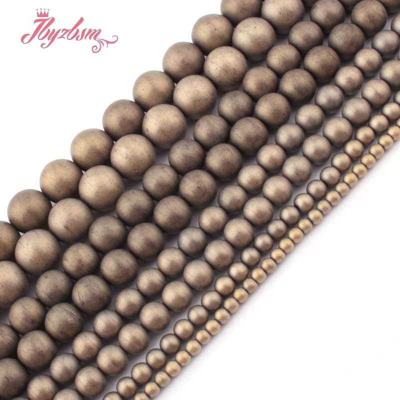 "2,3,4,6,10mm Frost Matte Round Light Gold Hematite Natural Stone Beads For DIY Necklace Bracelet Jewelry Making 15""Free Shipping(China)"
