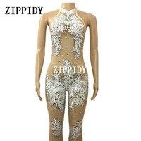 Мода Кружева Перспектива Стразы комбинезон сексуальный мигает блестящие праздничный костюм на день рождения праздничная одежда