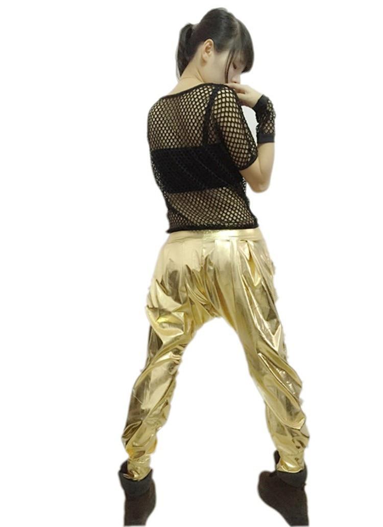 New fashion casual Sweatpants Costumes female wear spliced jazz Paillette  gold  loose Harem Hip Hop Dance Pants 1