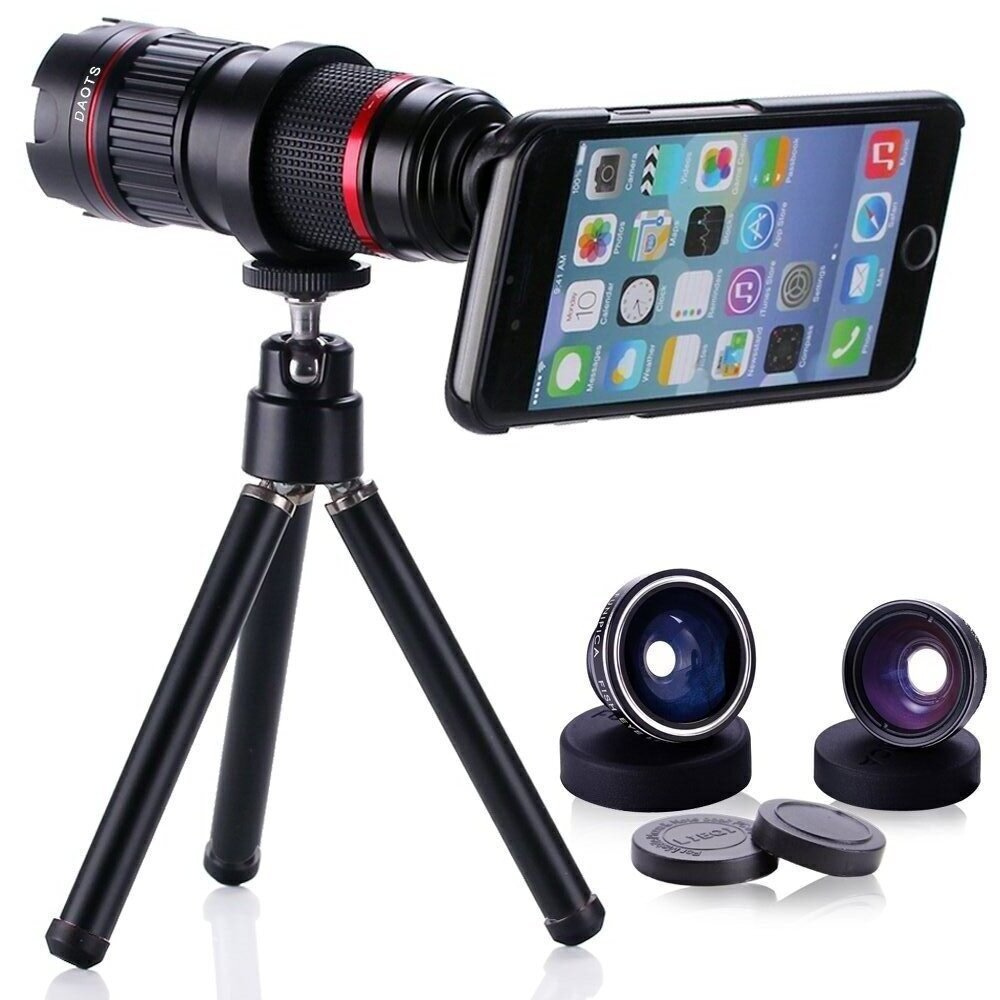 Great Lenses in One kits:4-12X Telescope Zoom+Fisheye&Wide Angle+Macro Len+Photo Tripod For Samsung Neo/For Iphone X 6S 7 8 Plus