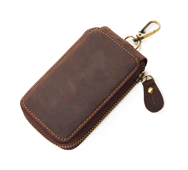 2017 Vintage Genuine Leather Key Wallet Women Keychain Covers Zipper Key Case Bag Men Key Holder Housekeeper Keys Organizer