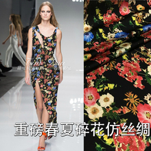 150cm high imitation silk cheongsam fabric stretch digital inkjet dress material wholesale cloth