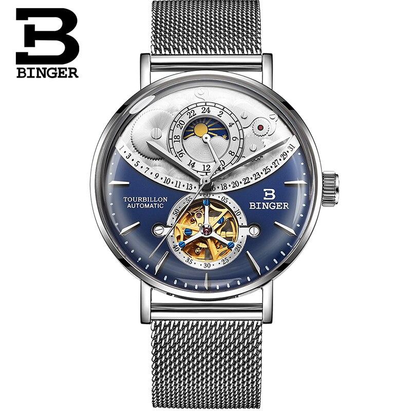 Szwajcaria oglądać mężczyźni BINGER automatyczne mechaniczne zegarki męskie luksusowa marka Sapphire Relogio Masculino wodoodporny zegarek męski B 1 6 w Zegarki mechaniczne od Zegarki na  Grupa 3