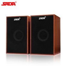SADA Portable Wooden Combination Speaker Full Range Subwoofer PC USB Computer Speakers Loudspeaker for Laptop