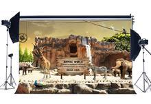 Zoo Park Backdrop Animals World Backdrops Zebra Giraffe Jungle Forest Vintage