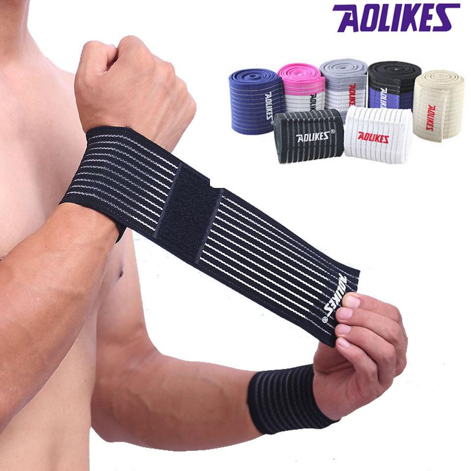 AOLIKES 1 Pcs cotton fitness elastic bandage hand wrist strap wrap sport wristband support gym wrist protector carpal tunnel sport cotton wrist brace wrap support black