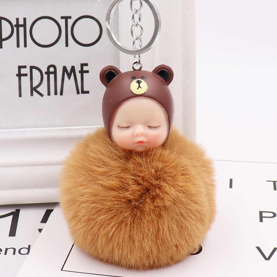Distorcido bonito Bebê Dormindo Boneca Chaveiro de Pele De Coelho Bola Pompom Chaveiro Mulheres Saco Acessórios Pingente de Chave Do Carro Titular SP1449