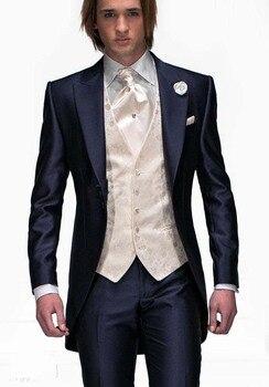men costume Slim Fit Morning Style Groom Tuxedos Navy Blue Groomsman Peak Lapel Men Wedding Suits Bridegroom(Jacket+Pants+Vest)