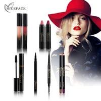 NICEFACE Makeup Set Sexy Red Lipstick Liquid Lipstick Eyelash Mascara Eyeliner Eyebrow Pencil With Brush Lip