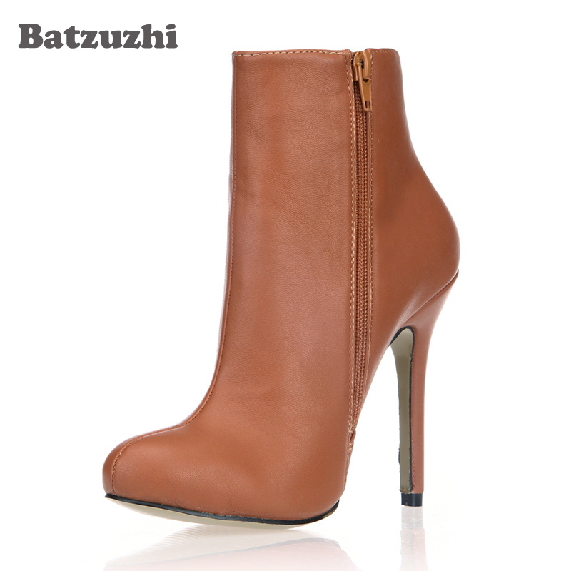 Batzuzhi-12cm Ankle Women Boots Brown Leather Winter Warm Sexy Ankle Boots 12cm Heels Pointed Toe Ankle Boots for Women batzuzhi 2018 new handmade women ankle boots 14cm platfrom short boots for women sexy winter warm plush ankle boots for women