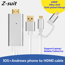 2 in 1 HDMI HD Cable Universal MHL Phone to HDMI Phone Access TV MHL Line for Smartphone Micro USB to HDMI 1080P HDTV Adapter