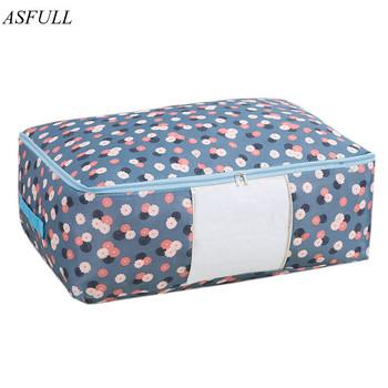 ASFULL torby na kołdrę Oxford torby na bagaż L XL do przechowywania domu torby do przechowywania organizator dla wodoodporna szafka darmowa wysyłka tanie i dobre opinie CN (pochodzenie) Storage bags Folding Ecologically Sustainable Stocked Wardrobe clothes Clothes Storage Bags 105L Quilt Storage Bags
