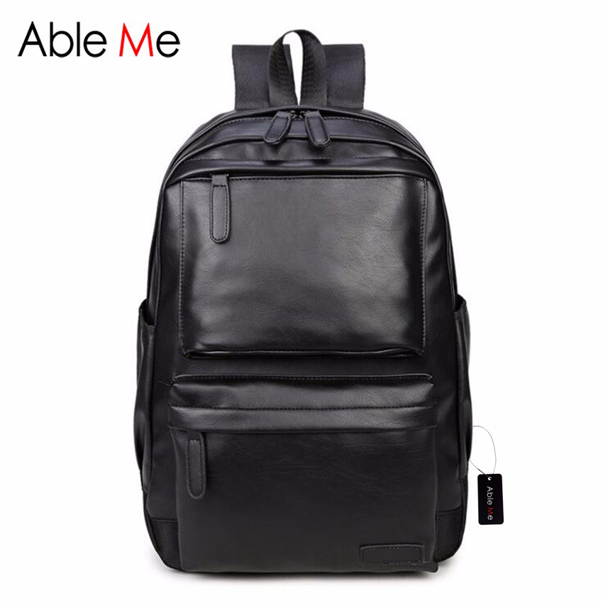 ФОТО AbleMe High Quality PU Men Backpack Classic Black Leather Backpack Large Capacity Laptop Backpack Casual Men Bags