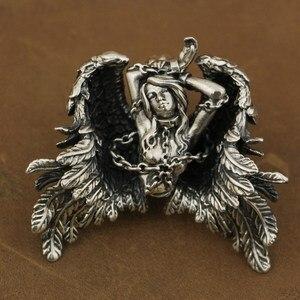 Image 1 - LINSION Высокая деталь 925 пробы серебряный кулон Андромеда сексуальный ангел Байкерский кулон TA82