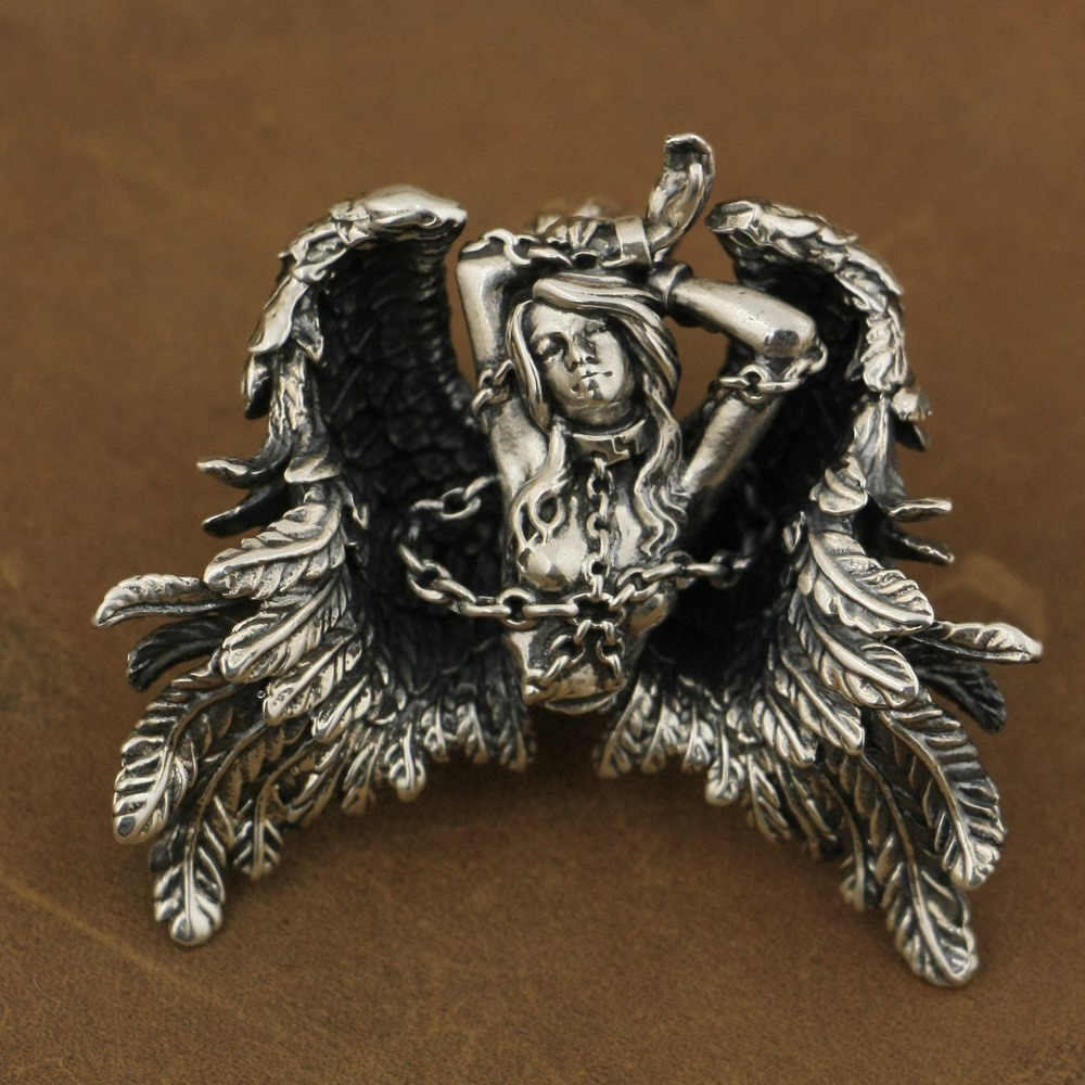 LINSION High Detail 925 Sterling Silver Andromeda Pendant Sexy Angel Biker Pendant TA82 цена и фото