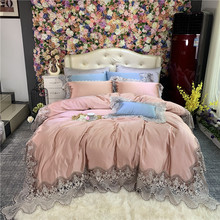 New Luxury Rose Gold Purple Lace Bedding Set Silk Cotton Duvet Cover 100S Egyptian cotton Bed Sheet Pillowcases Queen King 4pcs