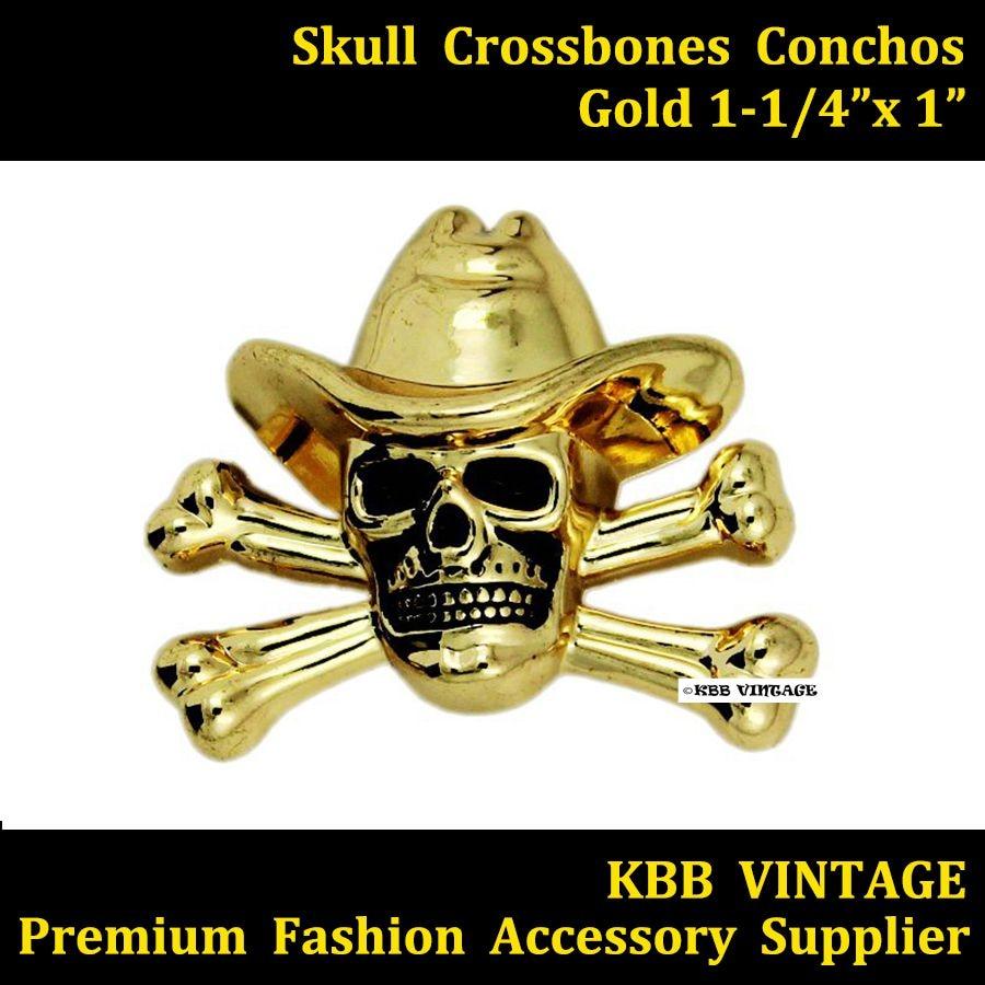 (KB701) 10pc 1-1 / 4 '' Western Concho Skull Crossbones Concho Leathercraft Gold