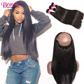 Raw Indian Hair Bundles With Frontal 360 Lace Closure Pre Plucked  360 Lace Frontal With 2/3 Bundles Indian Virgin Hair Straight