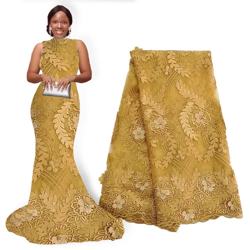 Tela de encaje de flores africanas tela de encaje de Nigeria bordado con cuentas Flor de encaje africano tela de flores 3D 5 yardas para fiesta de boda-in encaje from Hogar y Mascotas    1