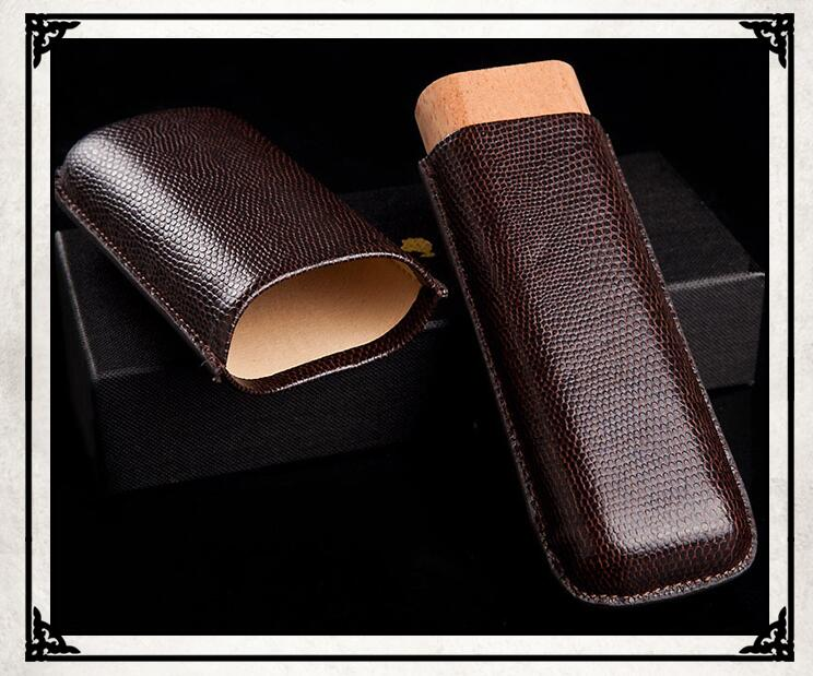 NEW good quality big High-end Gadget Excellent Leather White+Black Portable Cigar Case Holder Travel 3 Tube W/ Gift Box image