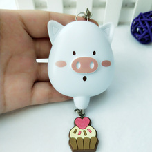 100pcs/pack mixed color cute personal alarm pig shape mini keyring anti theft keychain