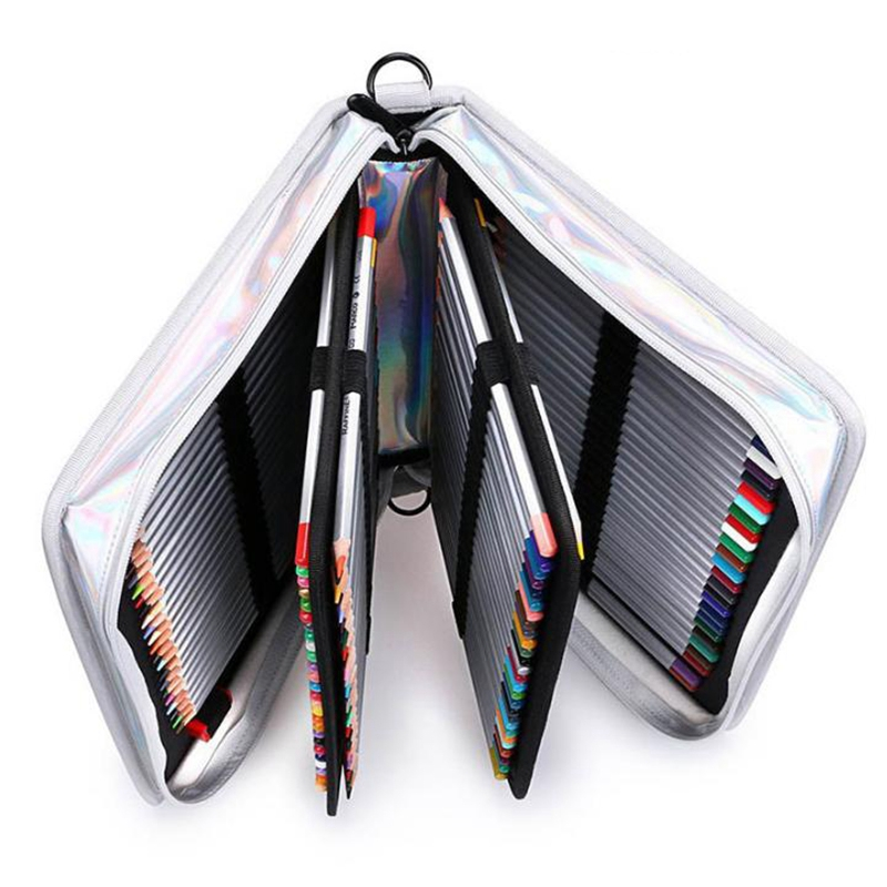 Image 2 - Creative Laser light Pu Leather Pencil Case 160 Holes Big Large Maker Pen Bag Box Office School Stationery PouchPencil Bags   -