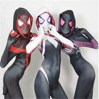 Superhero Gwen Stacy Costume Cosplay Halloween For Women Girls Venom Spider Spiderman Spandex Lycra Zentai Bodysuit Jumpsuits