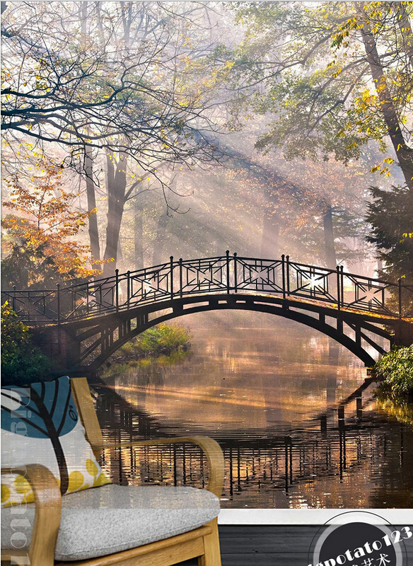 The latest 3D murals,dream sunlight landscape forest park of arch bridge . Living room sofa TV wall children bedroom wallpaper. the latest 3d murals dream of the sun exposure forest trees stone waterfall scenery living room tv sofa bedroom wall paper
