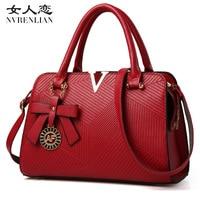 Nvrenlian известный бренд кожа Для женщин Сумки V письма Роскошные дизайнерские леди плечо Сумки через плечо женская сумка Bolsas