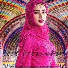 New Charming Pink Muslim Evening Dress with Hijab Long Prom Dress Robe Dubai Abaya Islamic Kaftan Long Prom Dress Robe de Soiree