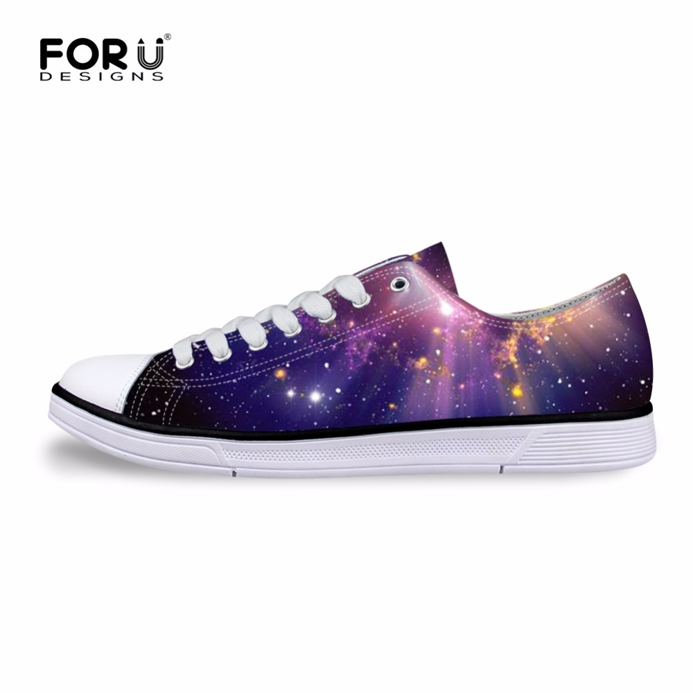 FORUDESIGNS 3D Galaxy Space Star Prints Women Casual Shoes Fashion Autumn Summer Low Vulcanized Shoes for Ladies Flats Leisure