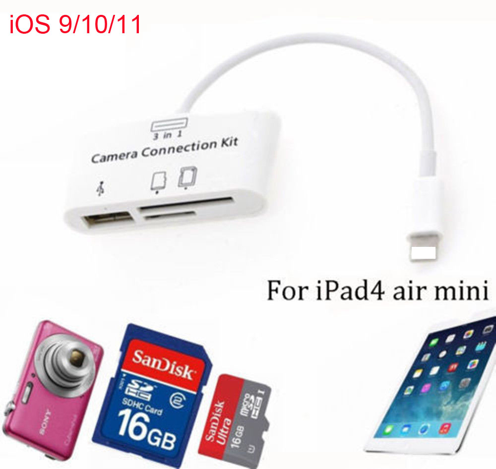 Ipad Air Memory Card Otg Smart Reader Connection Kit Micro Sdhc Ios For Mini Usb Cable Adapter