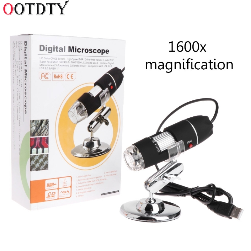 купить OOTDTY 1600X 2MP Zoom Microscope 8 LED USB Digital Handheld Magnifier Endoscope Camera по цене 828.89 рублей