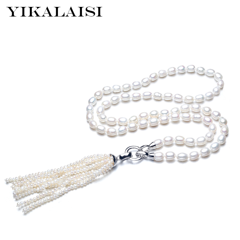 YIKALAISI 925 sterling silver Natural Freashwater Long Pearl Tassels Necklace Fashion Jewelry For Women 7-8mm pearl white colour(China)