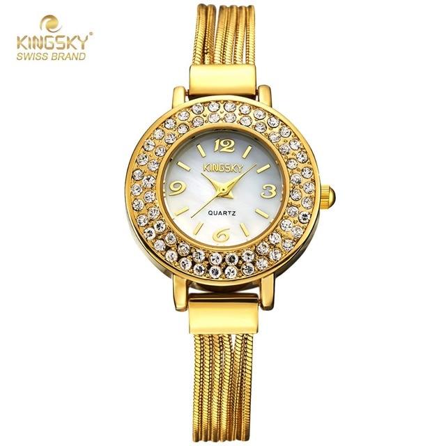 dabaad1baaa Senhoras Relógio de luxo de Marcas Famosas de Design de Moda Pulseira de  Ouro Relógios de