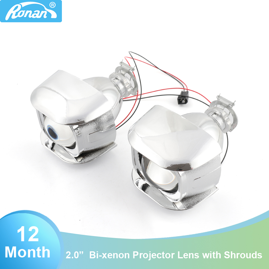 Ronan 2.0 wst H1 bi xenon with shrouds cover projector lens h4 h7 socket car headlight for retrofit