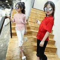 Girls Clothes Set Pearl Chiffon Lady Leisure Girl Clothing Sets Coat Pants 2Pcs Summer Suits Children