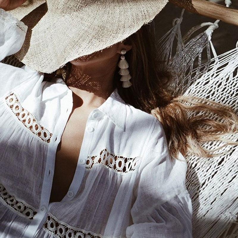Women Bikini Cover Up Lace Hollow Crochet Swimsuit Summer Beach Dress Ladies Bathing Suit Cover-Ups YS-BUY 4