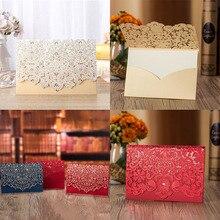 1pcs Gold White Red Luxury Flora Laser Cut Wedding Invitations Card Elegant Greeting Envelopes Party Favor Supplies
