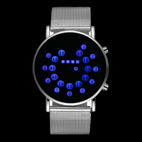2016 Fashion Cool Men Digital Watch Blue LED Watches Luxury Stainless Steel Sports Watches Men Binary