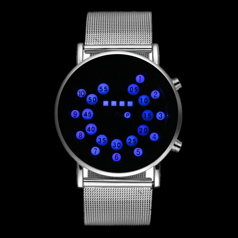 Vente chaude De Mode Binaire Montre Hommes Numérique Montre En Acier Inoxydable Unique LED Montres Hommes de Montre Binaire Horloge relojes para hombre