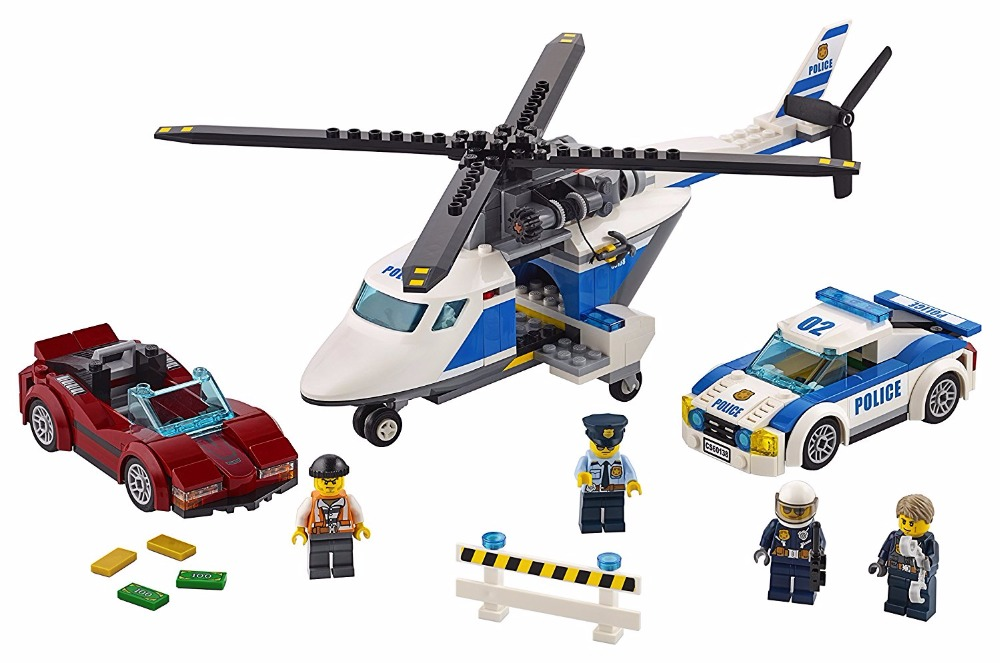 ФОТО 02018 City Police High-Speed Chase Helicopter Pursuit car Block Set pilot figure Kids Toy Compatible with  60138