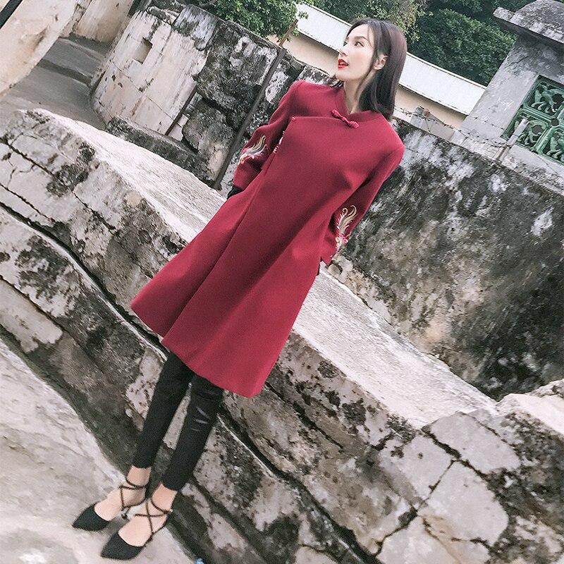 Chinois Han costume manteau de laine chine vent vêtements pour femmes vent national