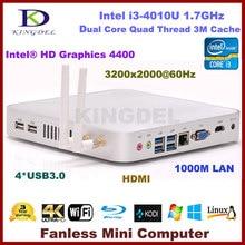 Barebone PC мини настольный компьютер Intel i3-4010U Dual Core Quad темы Процессор Wi-Fi HDMI USB 3.0 VGA Windows 7 полная металлический корпус