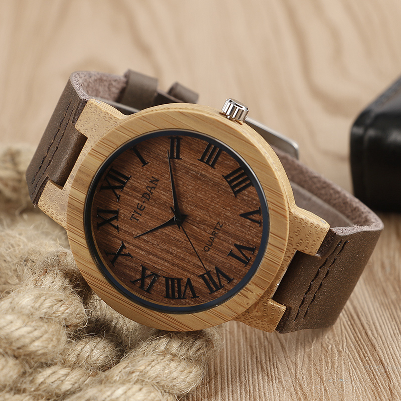 Men Natural Wood Watches Handmad Bmaboo Original Wooden Watch Men's Women's Quartz Watch Clock Creative Unique Gift Item unique natural wood sunglasses