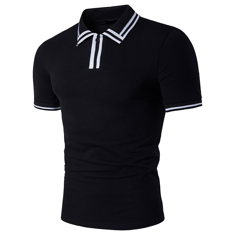 2017 new men stripes printing lapel closely leisure men's   polo   shirts with short sleeves