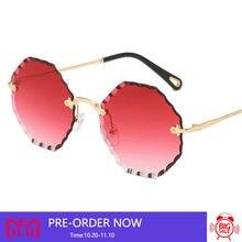 Уличные стильные прозрачные красные Glasse солнцезащитные очки без оправы  женские знаменитые брендовые модные очки розовые синие b14117c549efb