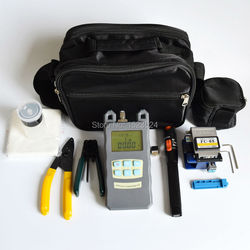 15 in 1 FTTH Fiber Optic Tool Kits with Fiber Cleaver -70~+10dBm Optical Power Meter Visual Fault Lcator 10mw and Stripper