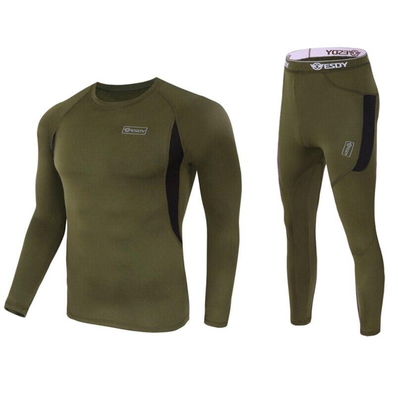 One set Thermal underwear men underwear sets compression fleece sweat quick drying thermo underwear masculino Black  dark green